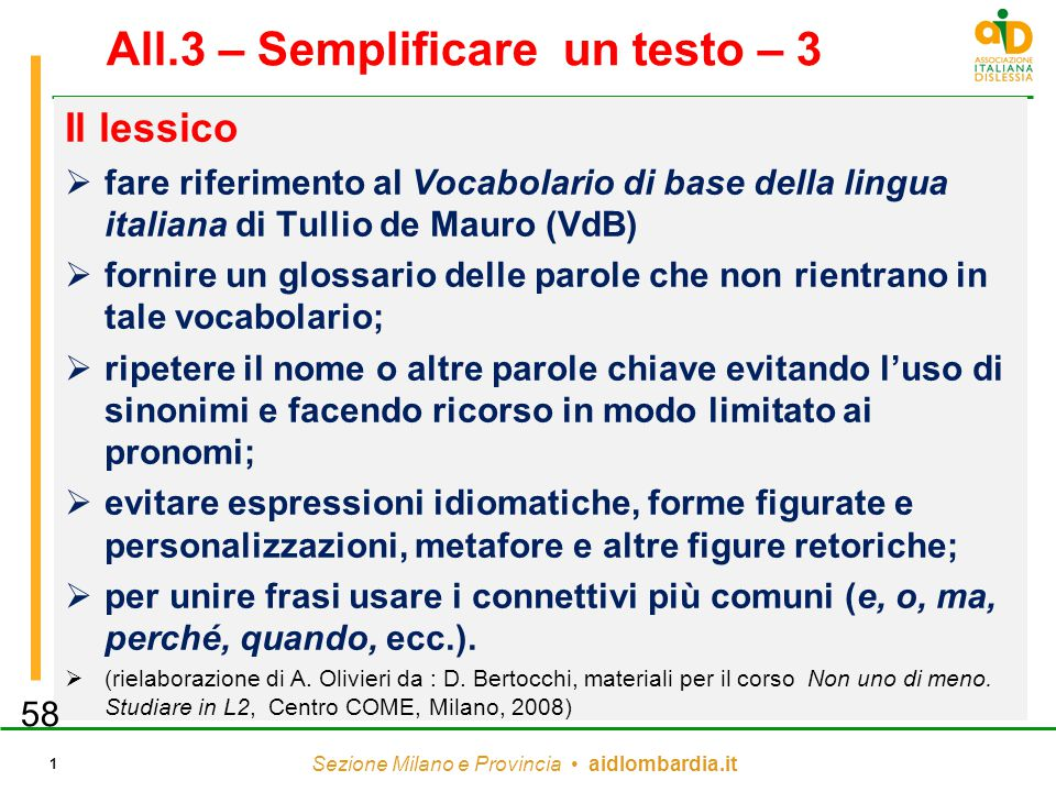 All.3 – Semplificare un testo – 3