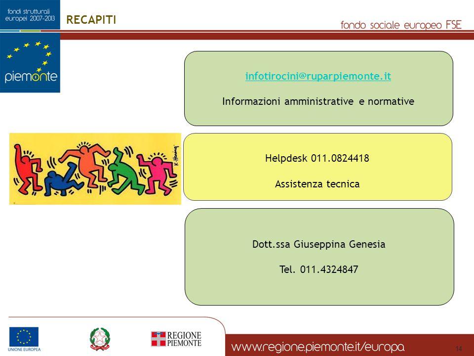 RECAPITI infotirocini@ruparpiemonte.it