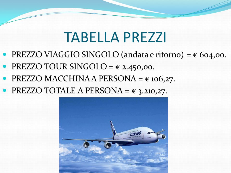 TABELLA PREZZI PREZZO VIAGGIO SINGOLO (andata e ritorno) = € 604,00.