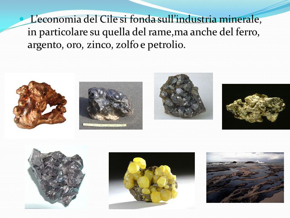 L'economia del Cile si fonda sull'industria minerale, in particolare su quella del rame,ma anche del ferro, argento, oro, zinco, zolfo e petrolio.