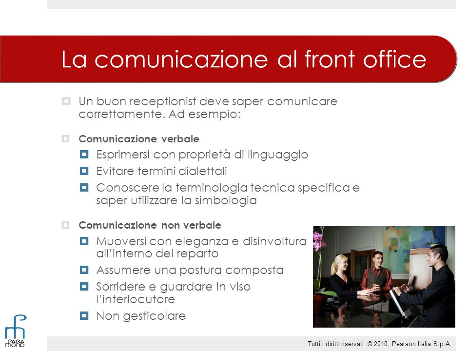 La comunicazione al front office