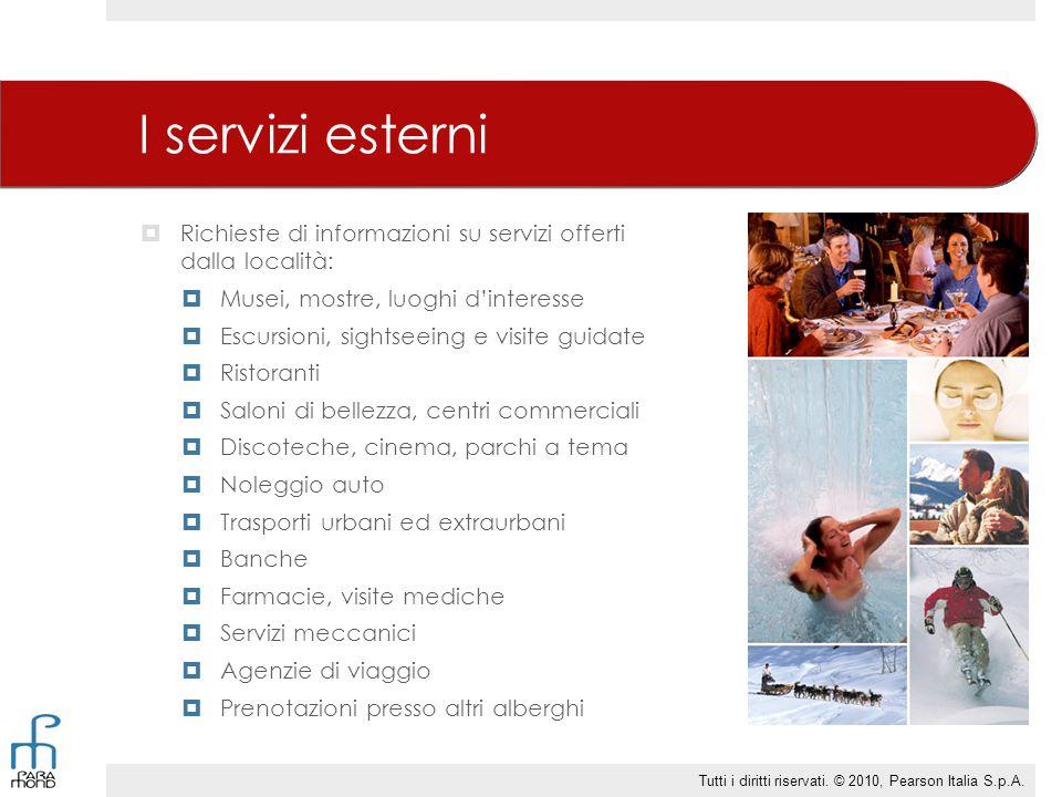 I servizi esterni Richieste di informazioni su servizi offerti dalla località: Musei, mostre, luoghi d'interesse.