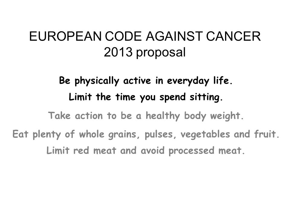 EUROPEAN CODE AGAINST CANCER 2013 proposal
