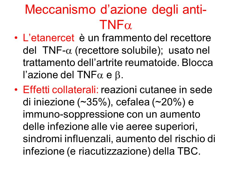 Meccanismo d'azione degli anti-TNFa