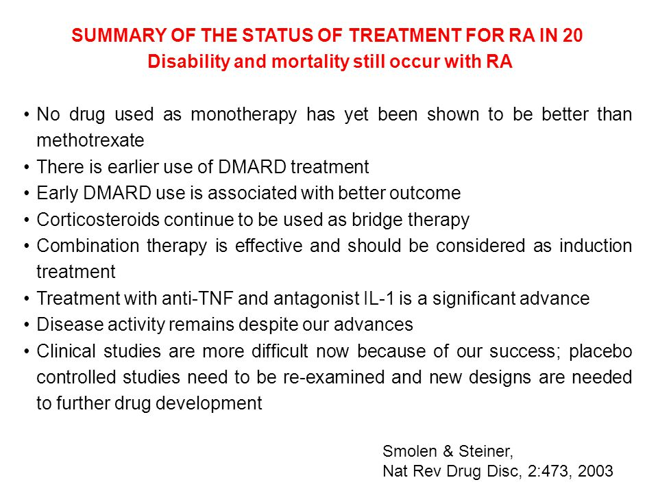 SUMMARY OF THE STATUS OF TREATMENT FOR RA IN 20