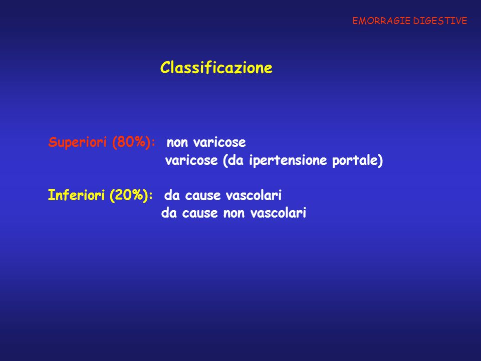 Classificazione Superiori (80%): non varicose