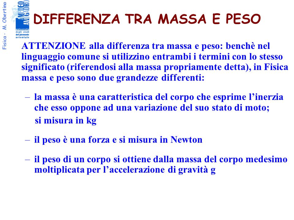 DIFFERENZA TRA MASSA E PESO