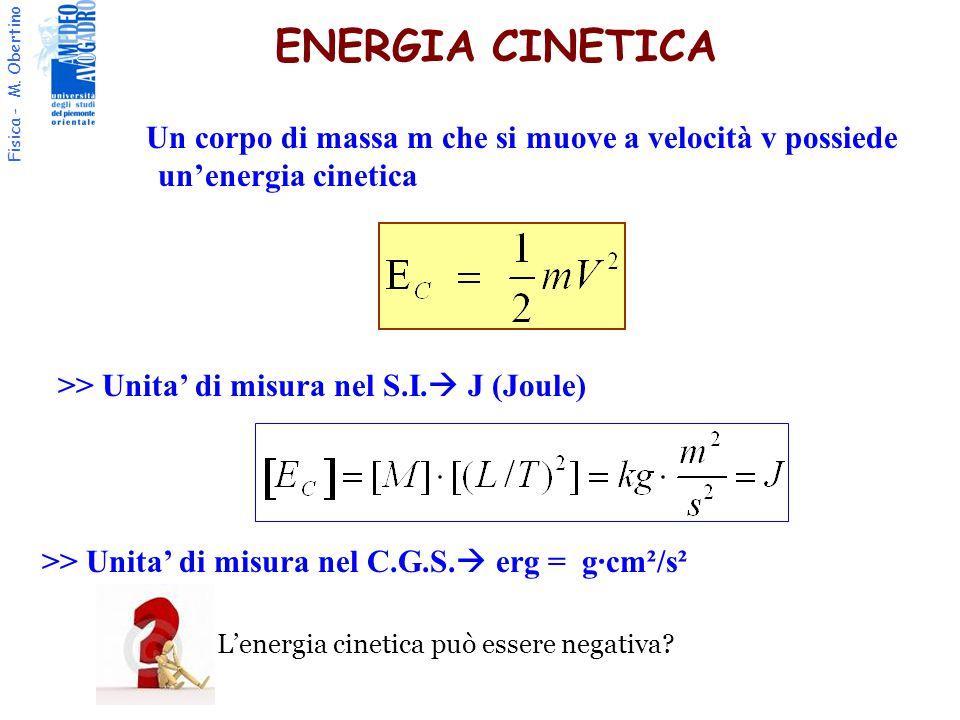 ENERGIA CINETICA Un corpo di massa m che si muove a velocità v possiede un'energia cinetica. >> Unita' di misura nel S.I. J (Joule)