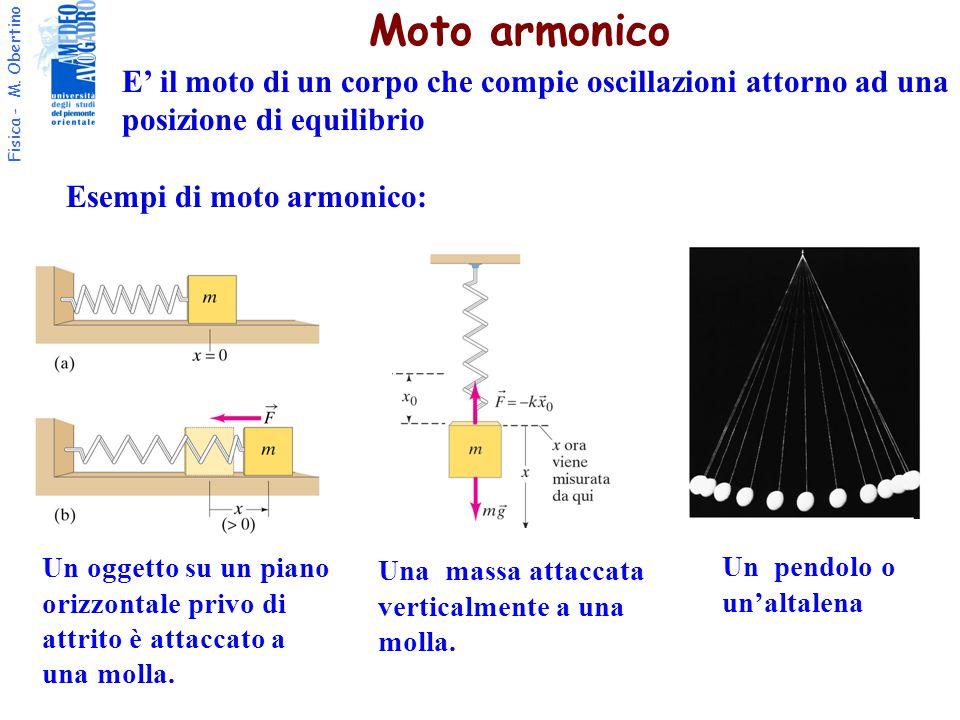 Moto armonico E' il moto di un corpo che compie oscillazioni attorno ad una. posizione di equilibrio.