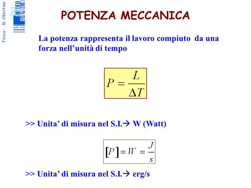 POTENZA MECCANICA La potenza rappresenta il lavoro compiuto da una forza nell'unità di tempo. >> Unita' di misura nel S.I. W (Watt)