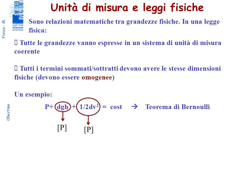 Unità di misura e leggi fisiche