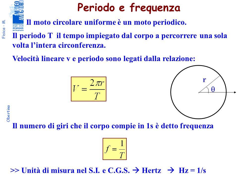 Periodo e frequenza Il moto circolare uniforme è un moto periodico.