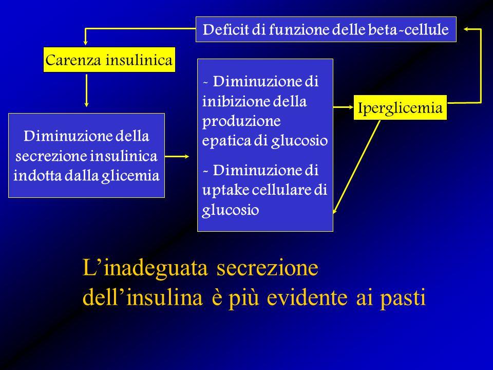 L'inadeguata secrezione dell'insulina è più evidente ai pasti