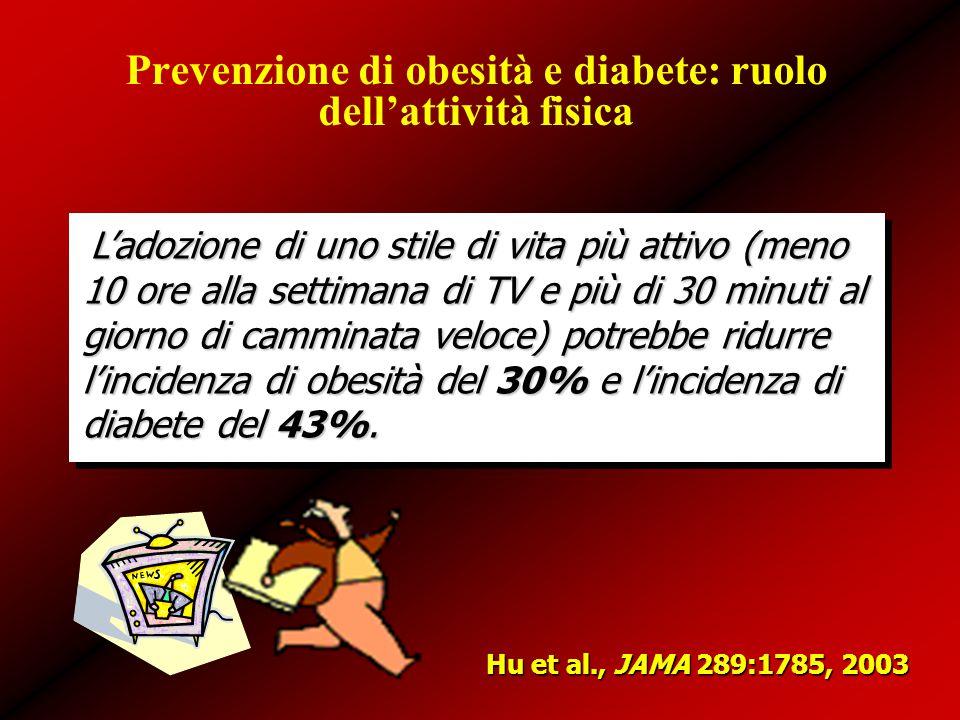 Prevenzione di obesità e diabete: ruolo dell'attività fisica