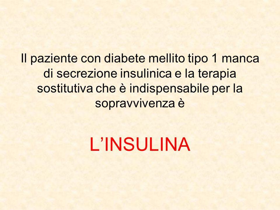 Il paziente con diabete mellito tipo 1 manca di secrezione insulinica e la terapia sostitutiva che è indispensabile per la sopravvivenza è