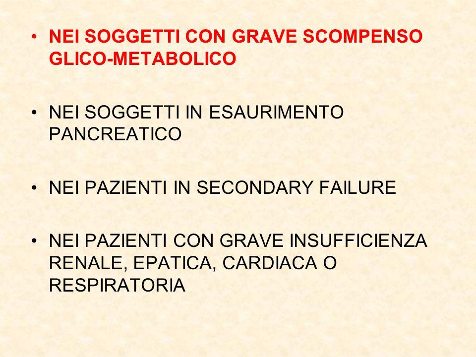 NEI SOGGETTI CON GRAVE SCOMPENSO GLICO-METABOLICO
