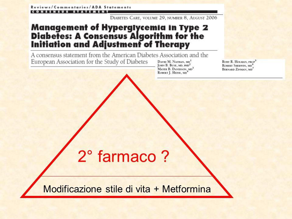 2° farmaco Modificazione stile di vita + Metformina