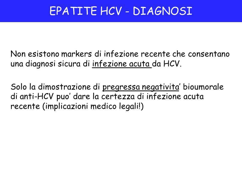 EPATITE HCV - DIAGNOSI Non esistono markers di infezione recente che consentano una diagnosi sicura di infezione acuta da HCV.