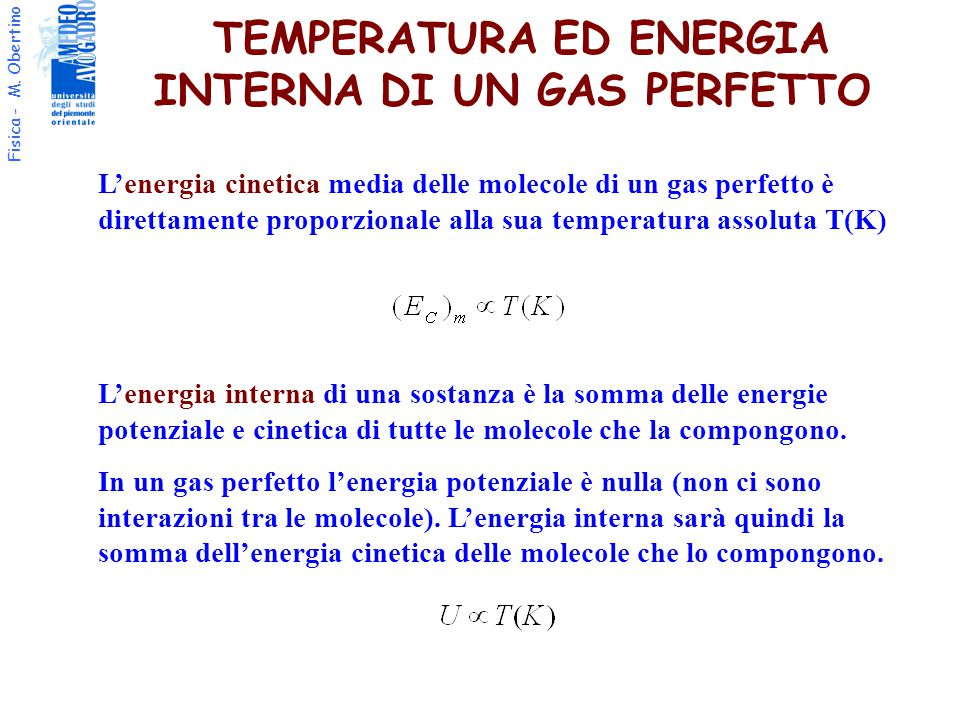 TEMPERATURA ED ENERGIA INTERNA DI UN GAS PERFETTO