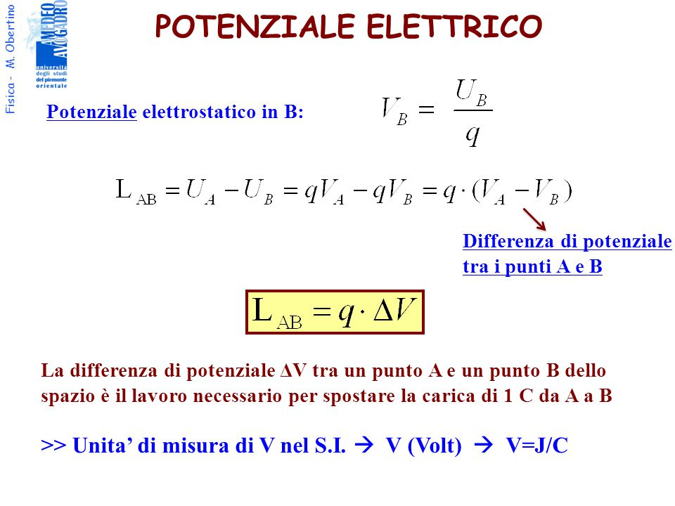 POTENZIALE ELETTRICO Potenziale elettrostatico in B: Differenza di potenziale tra i punti A e B.