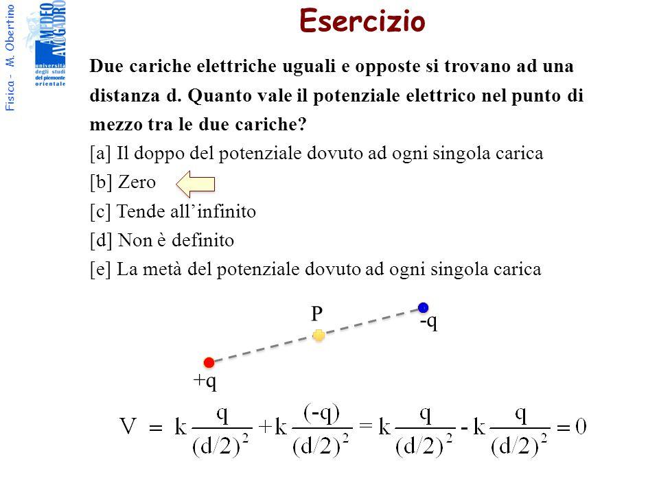Esercizio Due cariche elettriche uguali e opposte si trovano ad una. distanza d. Quanto vale il potenziale elettrico nel punto di.