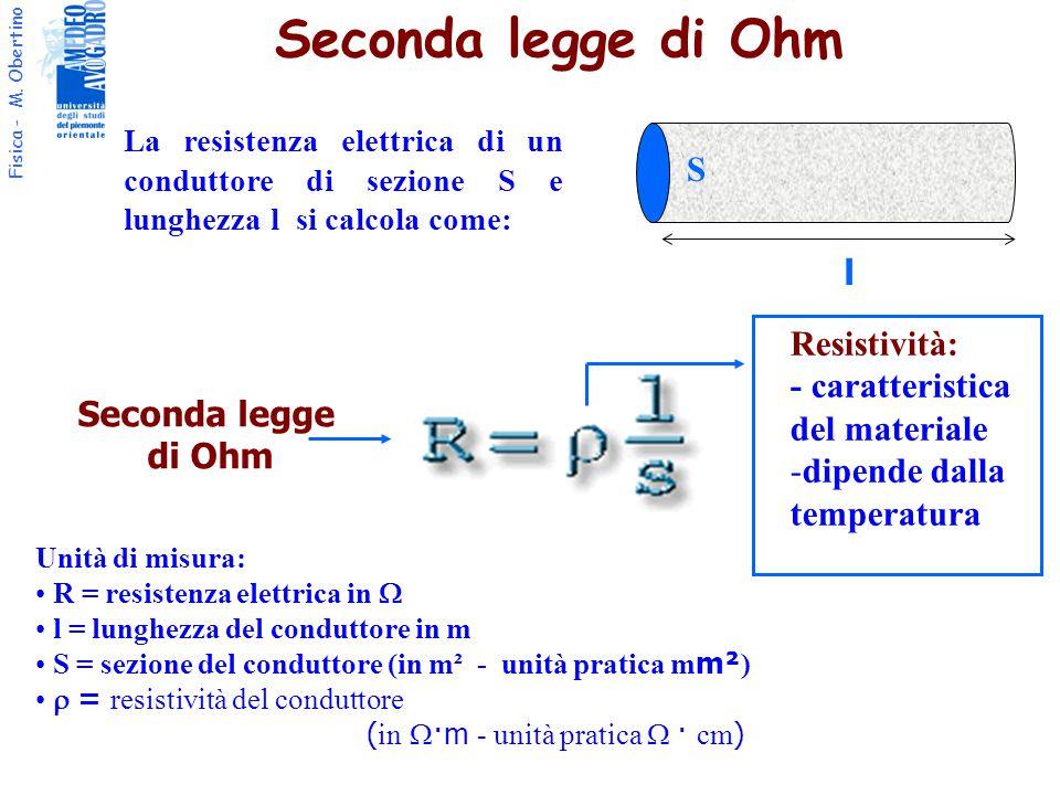 Seconda legge di Ohm S l Resistività: - caratteristica del materiale