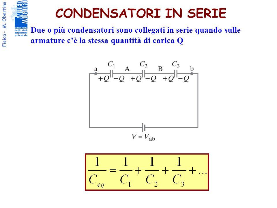 CONDENSATORI IN SERIE Due o più condensatori sono collegati in serie quando sulle armature c'è la stessa quantità di carica Q.