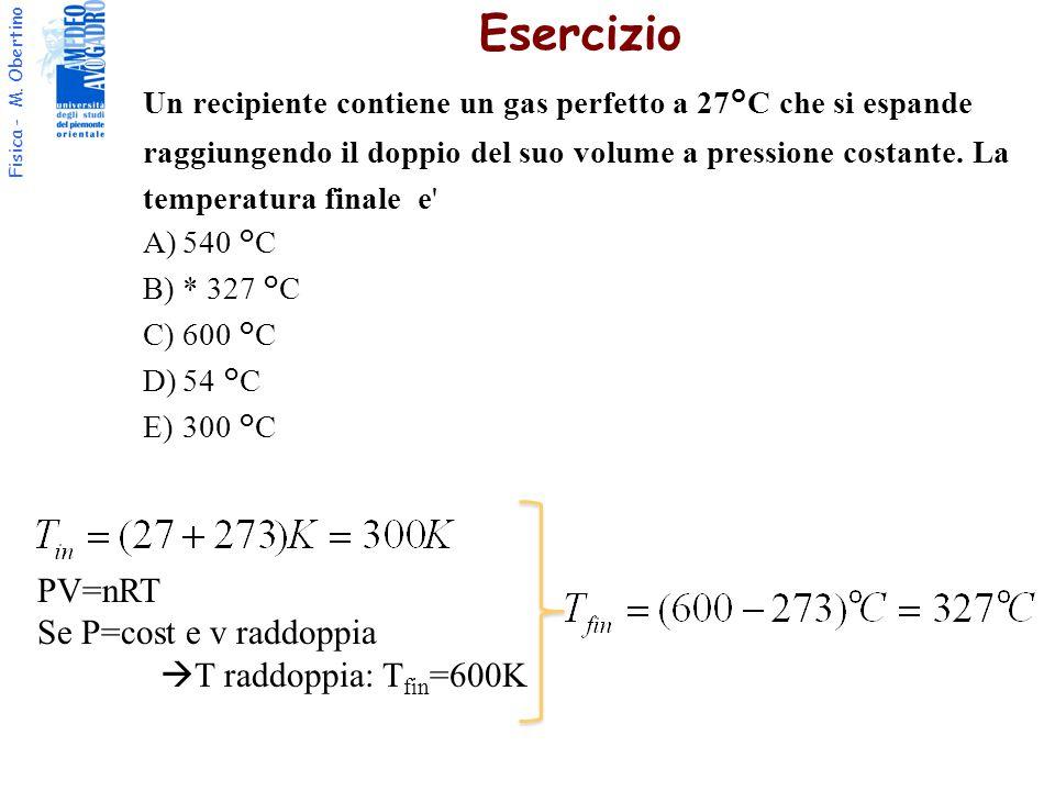 Esercizio PV=nRT Se P=cost e v raddoppia T raddoppia: Tfin=600K