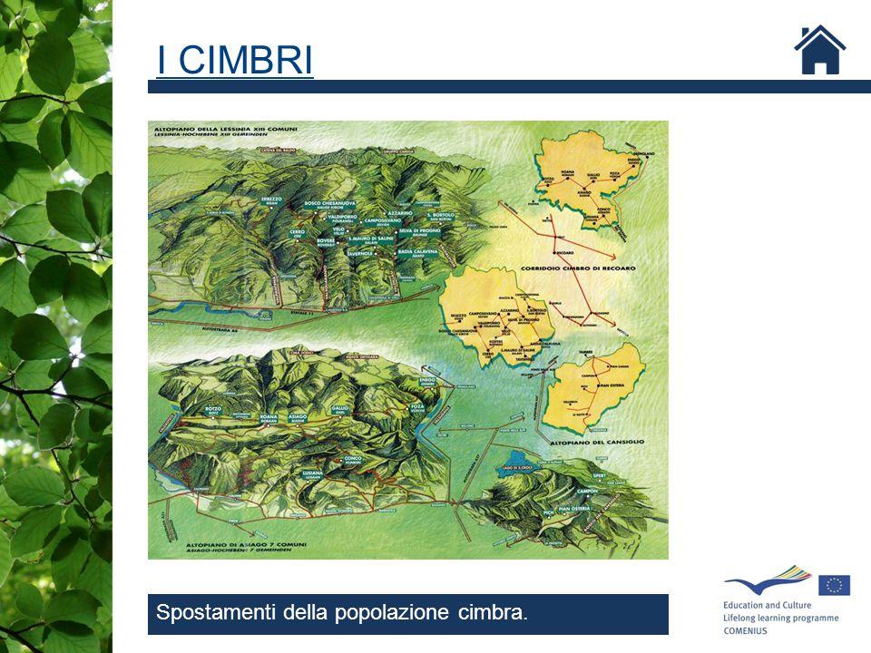 I CIMBRI Spostamenti della popolazione cimbra.