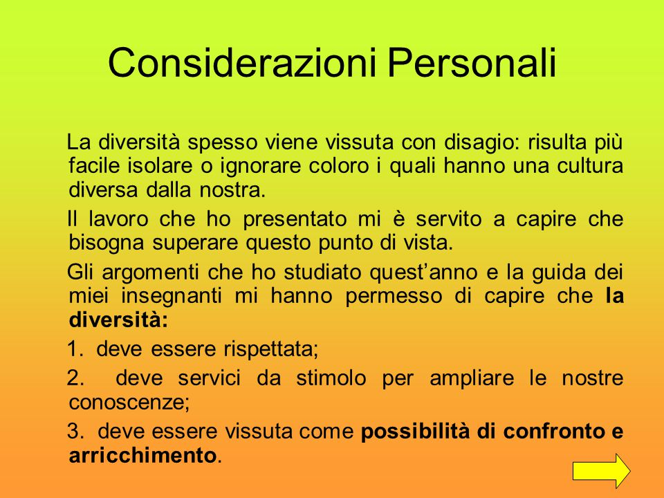 Considerazioni Personali