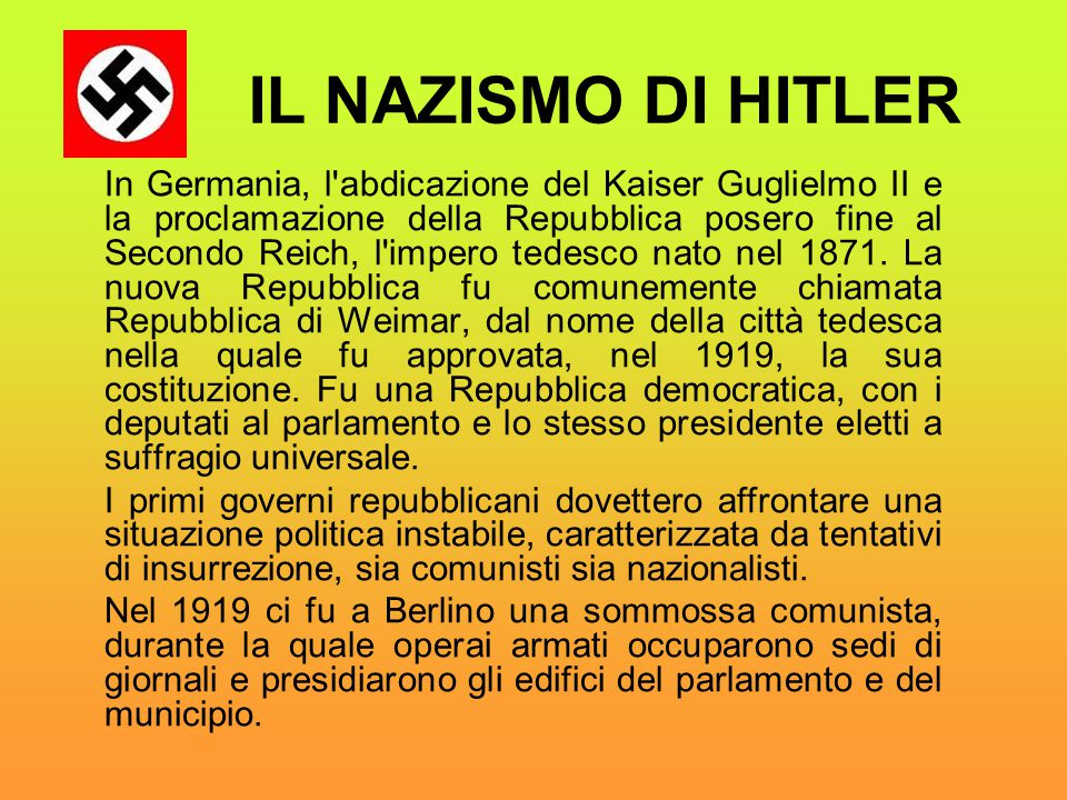 IL NAZISMO DI HITLER