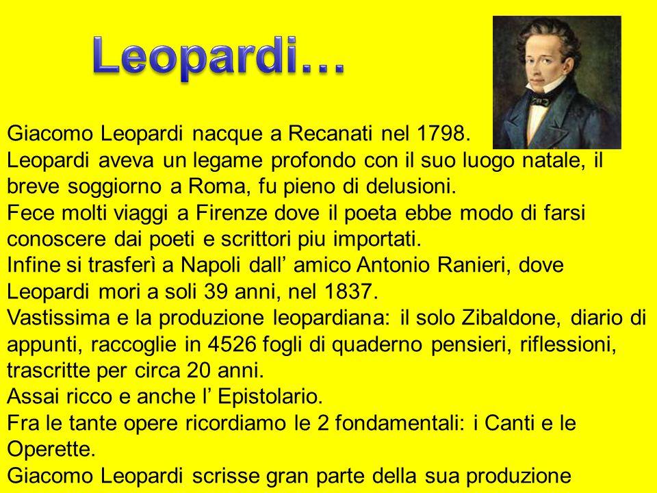 Leopardi… Giacomo Leopardi nacque a Recanati nel 1798.