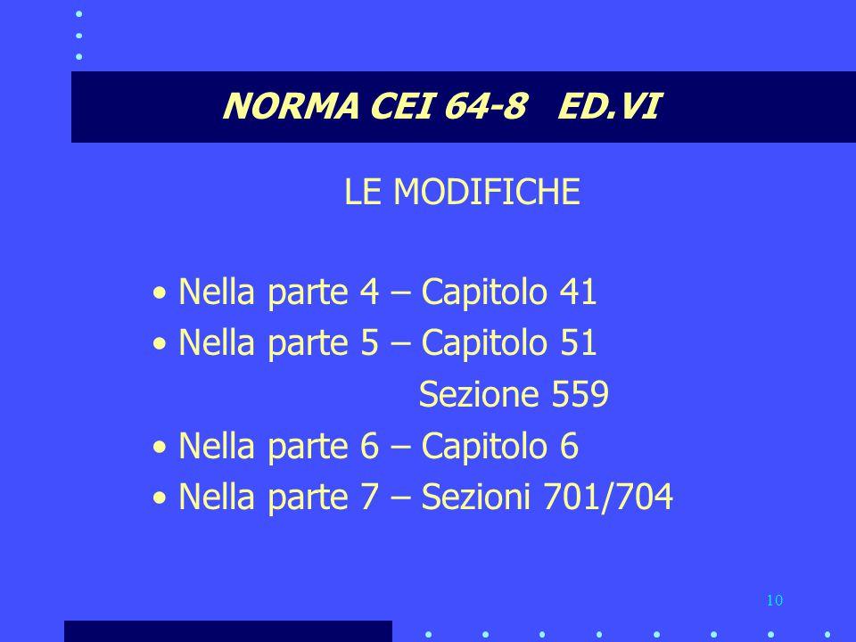 NORMA CEI 64-8 ED.VI LE MODIFICHE. Nella parte 4 – Capitolo 41. Nella parte 5 – Capitolo 51. Sezione 559.