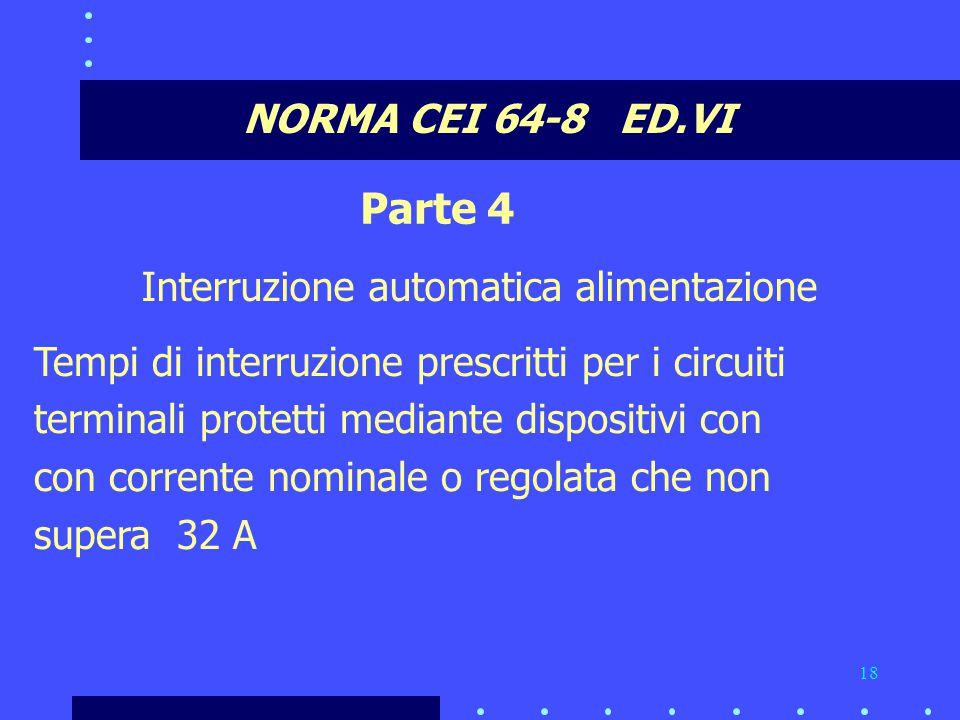 Parte 4 NORMA CEI 64-8 ED.VI Interruzione automatica alimentazione