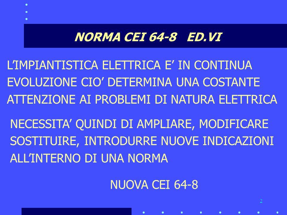 NORMA CEI 64-8 ED.VI L'IMPIANTISTICA ELETTRICA E' IN CONTINUA. EVOLUZIONE CIO' DETERMINA UNA COSTANTE.