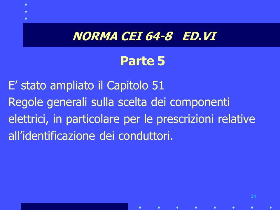 Parte 5 NORMA CEI 64-8 ED.VI E' stato ampliato il Capitolo 51