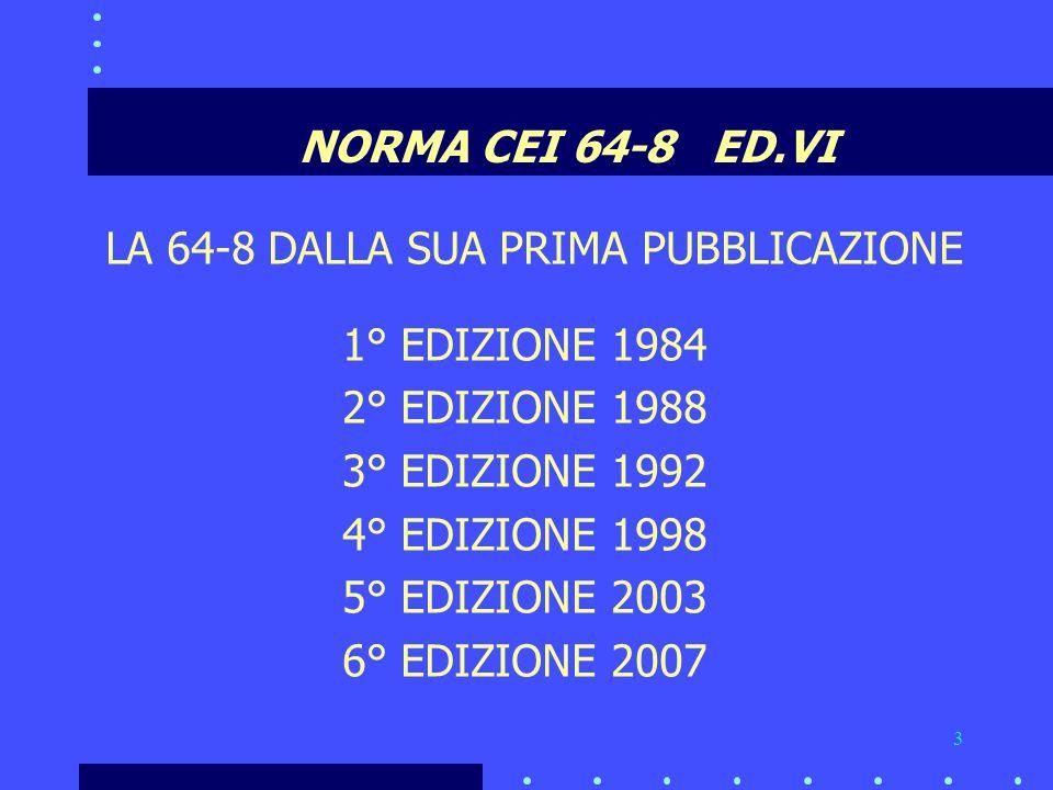 NORMA CEI 64-8 ED.VI LA 64-8 DALLA SUA PRIMA PUBBLICAZIONE. 1° EDIZIONE 1984. 2° EDIZIONE 1988.