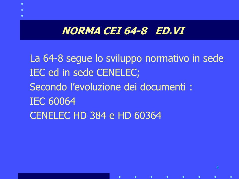 NORMA CEI 64-8 ED.VI La 64-8 segue lo sviluppo normativo in sede. IEC ed in sede CENELEC; Secondo l'evoluzione dei documenti :