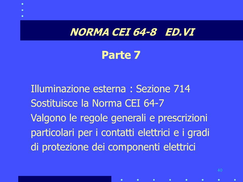 Parte 7 NORMA CEI 64-8 ED.VI Illuminazione esterna : Sezione 714