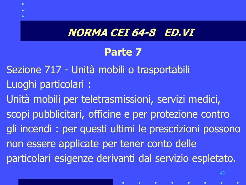 NORMA CEI 64-8 ED.VI Parte 7. Sezione 717 - Unità mobili o trasportabili. Luoghi particolari :