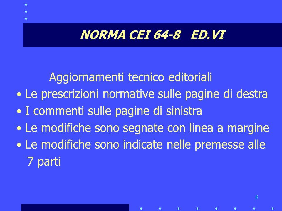 NORMA CEI 64-8 ED.VI Aggiornamenti tecnico editoriali. Le prescrizioni normative sulle pagine di destra.
