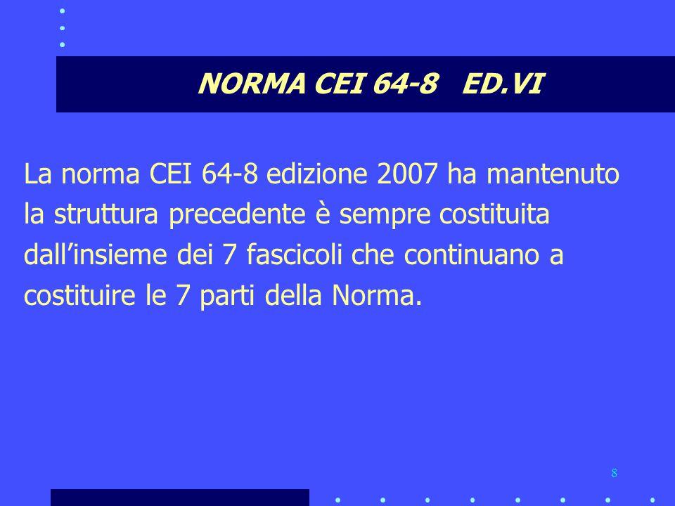 NORMA CEI 64-8 ED.VI La norma CEI 64-8 edizione 2007 ha mantenuto. la struttura precedente è sempre costituita.