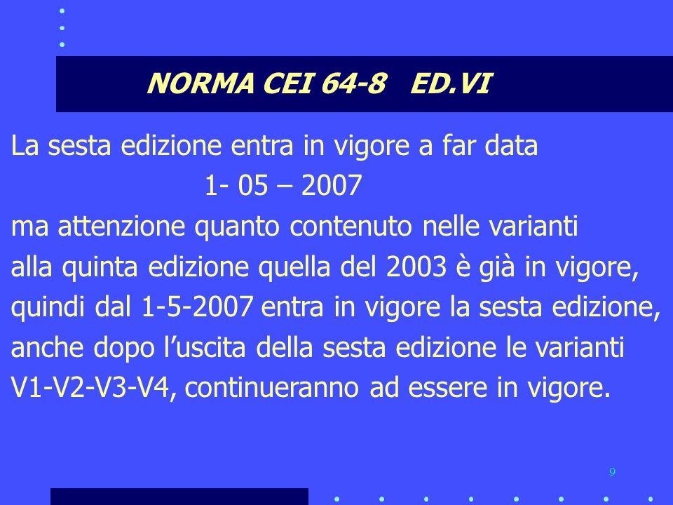 NORMA CEI 64-8 ED.VI La sesta edizione entra in vigore a far data. 1- 05 – 2007. ma attenzione quanto contenuto nelle varianti.