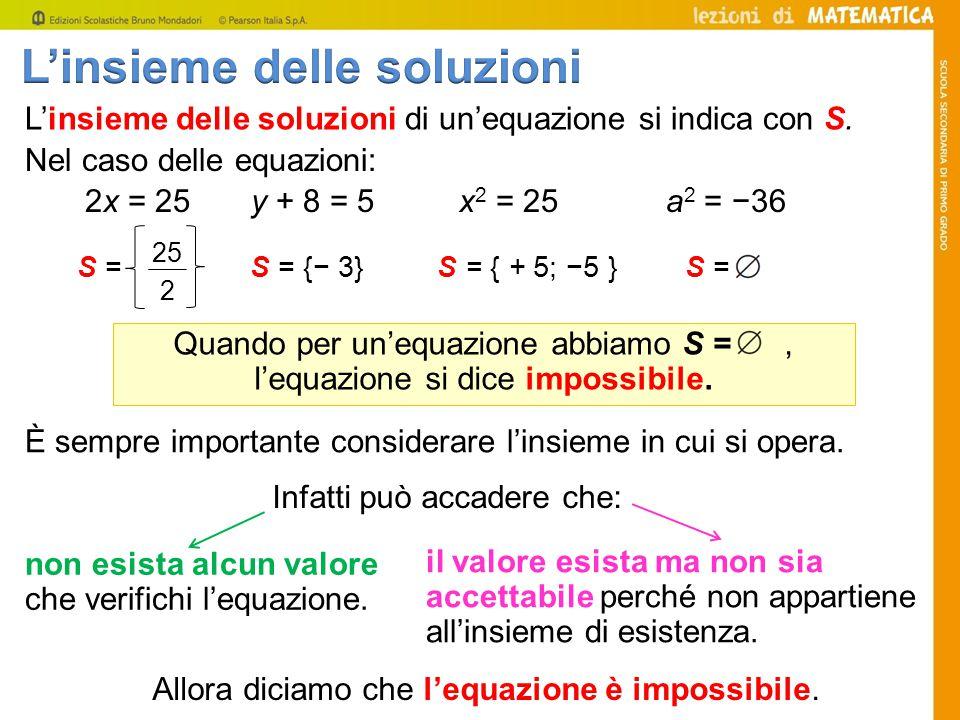Quando per un'equazione abbiamo S = , l'equazione si dice impossibile.