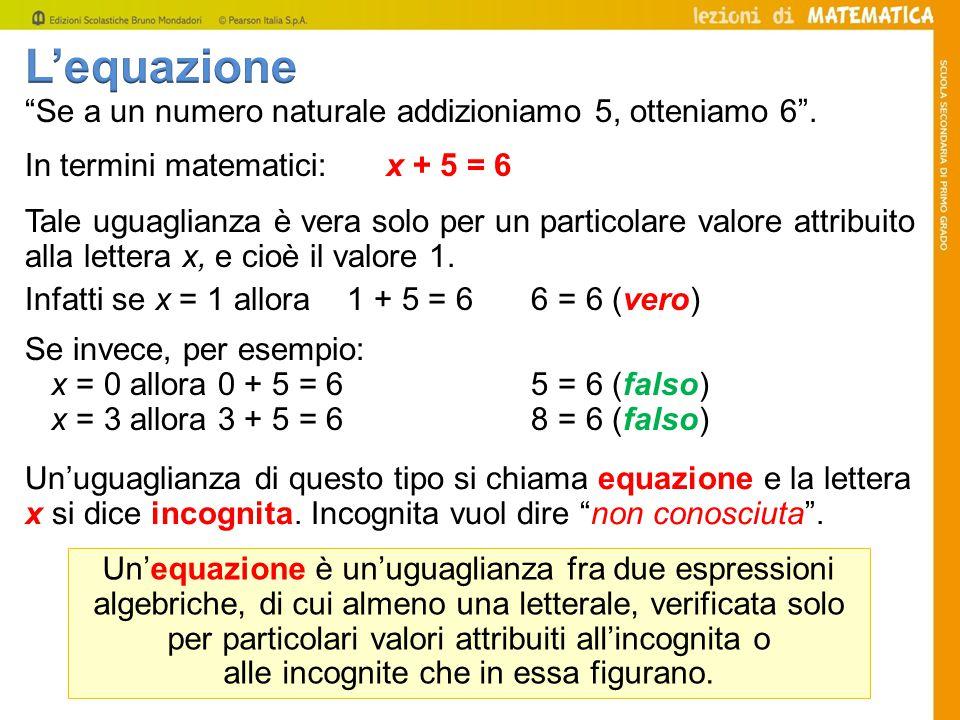 L'equazione Se a un numero naturale addizioniamo 5, otteniamo 6 .