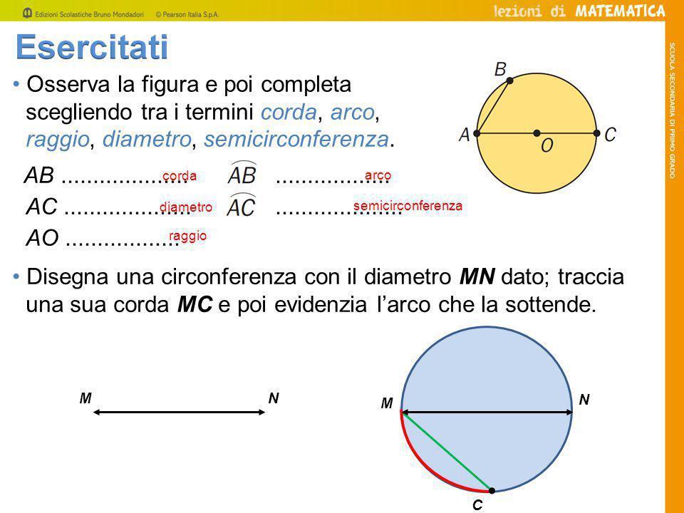 • Osserva la figura e poi completa scegliendo tra i termini corda, arco, raggio, diametro, semicirconferenza.