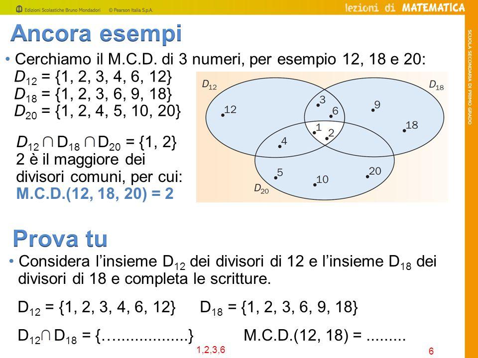 Ancora esempi • Cerchiamo il M.C.D. di 3 numeri, per esempio 12, 18 e 20: D12 = {1, 2, 3, 4, 6, 12}