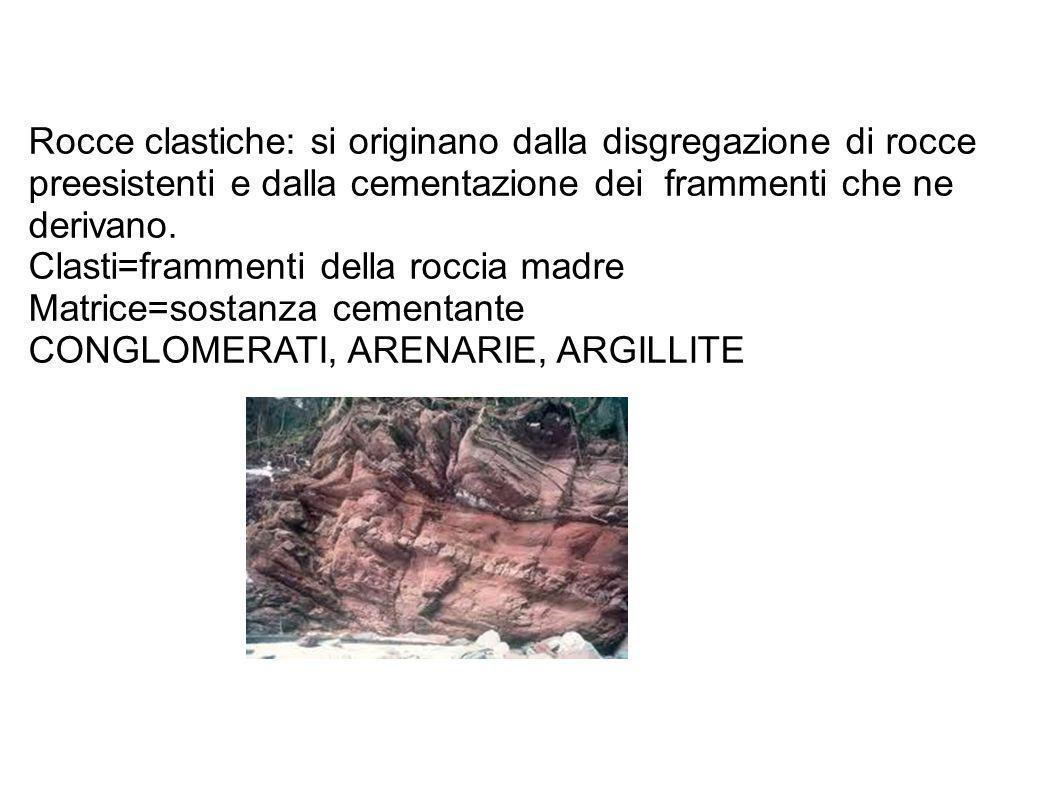 Rocce clastiche: si originano dalla disgregazione di rocce preesistenti e dalla cementazione dei frammenti che ne derivano.