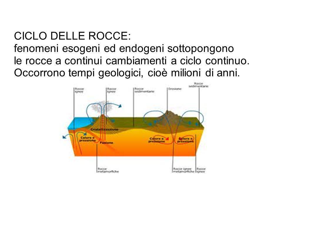 CICLO DELLE ROCCE: fenomeni esogeni ed endogeni sottopongono. le rocce a continui cambiamenti a ciclo continuo.