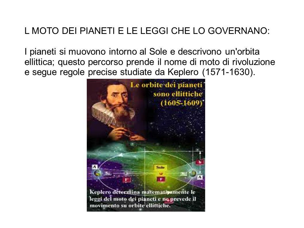 L MOTO DEI PIANETI E LE LEGGI CHE LO GOVERNANO: